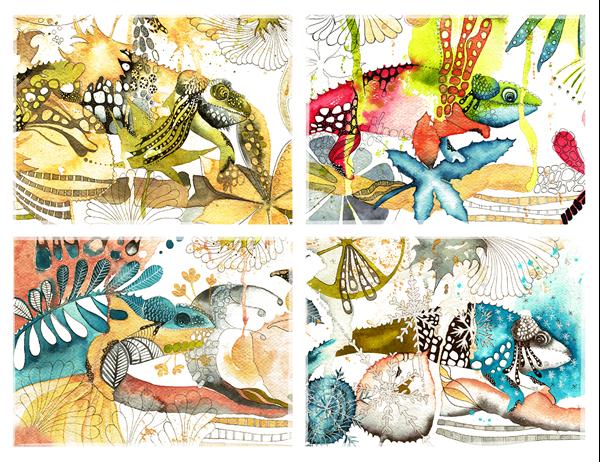 Cartes de vœux caméléon (pliées en quatre)