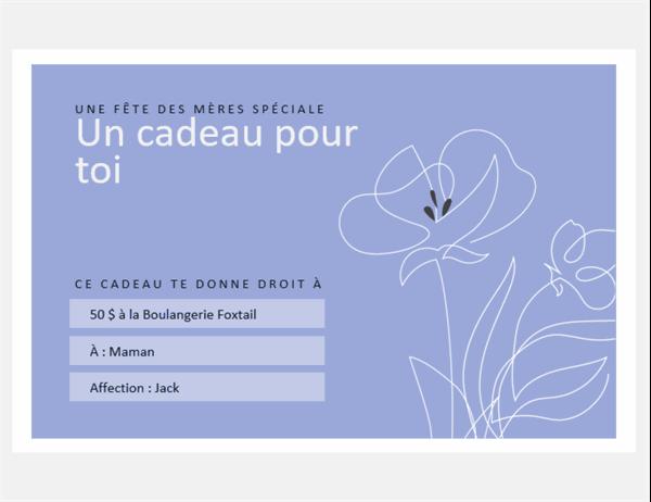 Chèques-cadeaux de la fête des mères: thème floral élégant