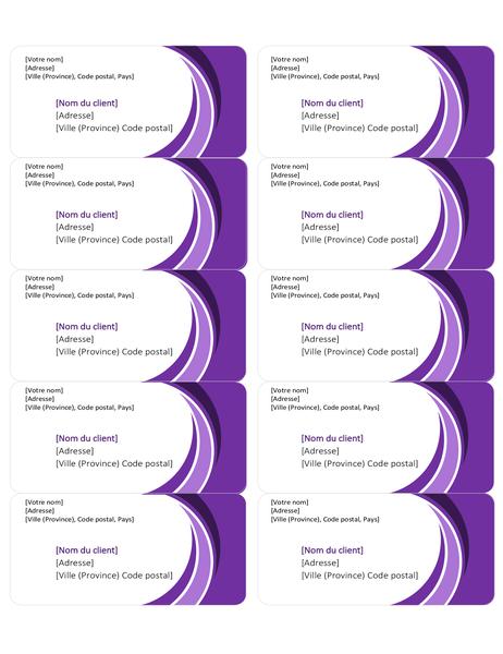 Étiquettes d'expédition violettes (10 par page)