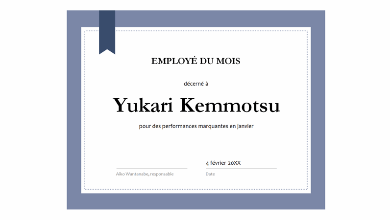 Certificat pour l'employé du mois
