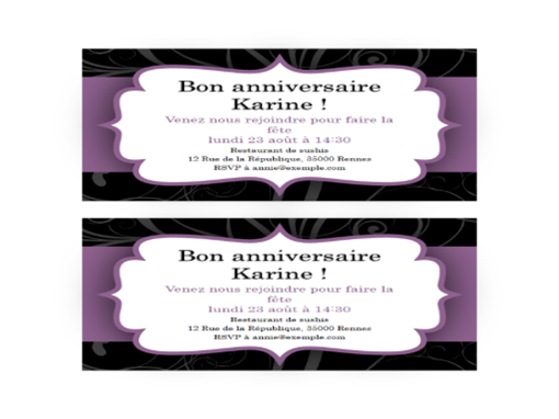 Invitation à une fête (conception de ruban violet)