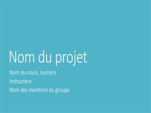 Présentation d'un projet de groupe (thèmes Métropolitain, grand écran)