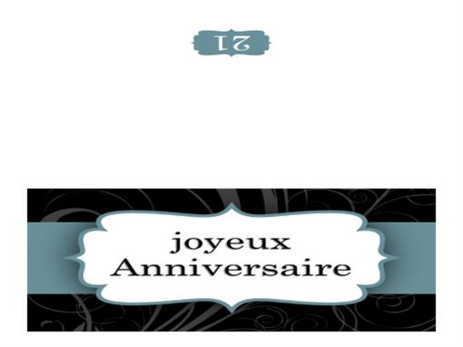 Carte d'anniversaire (conception «Ruban bleu», mi-pliée)