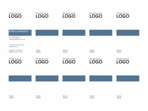 Cartes professionnelles, mise en page verticale avec logo (10 par page)