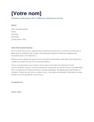 Lettre de motivation simple