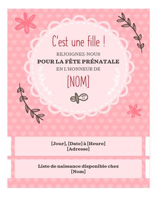 Invitation à une fête prénatale pour une fille