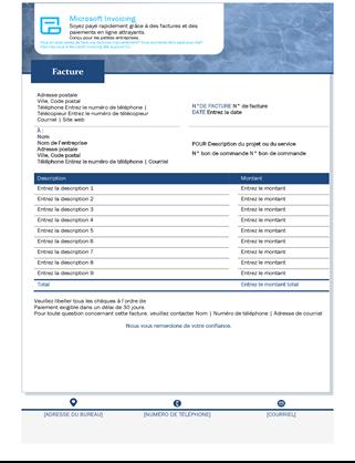 Facture de service avec Microsoft Invoicing