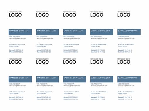 Cartes de visite, disposition verticale, avec logo (10par page)