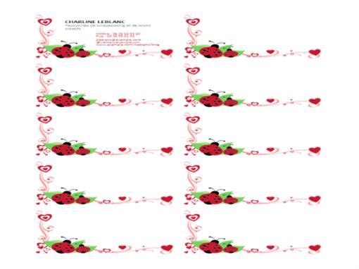 Cartes de visite (coccinelles et cœurs, alignées à gauche, 10 par page)