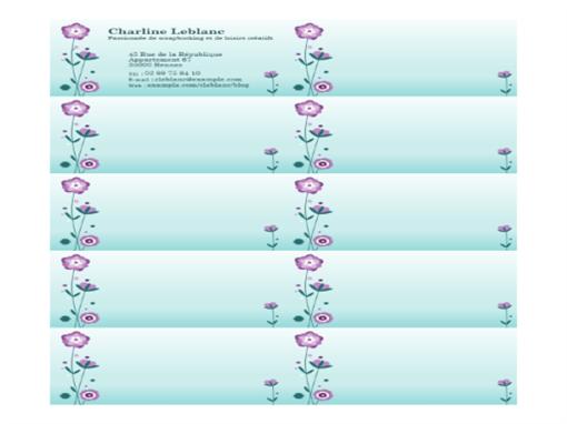 Cartes de visite (illustration de fleur, 10 par page)