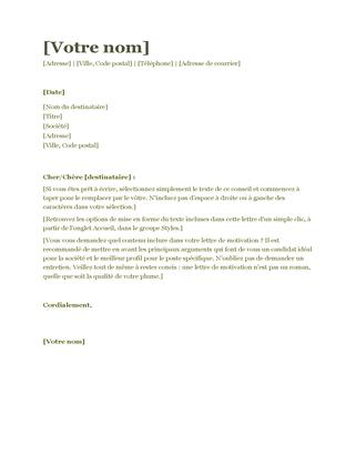 Lettre de motivation (vert)