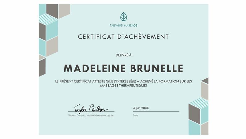 Certificat d'achèvement