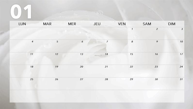 Calendrier mensuel à thème floral
