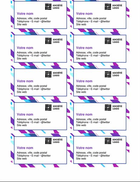Cartes de visite graphiques violets