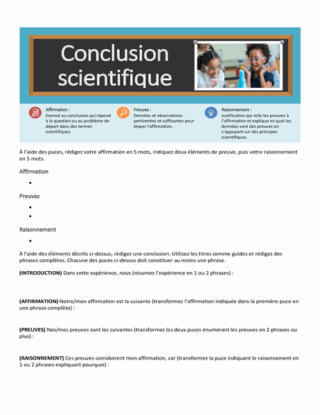 Feuille de calcul Conclusion scientifique