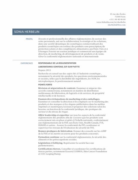 CV de responsable de la réglementation