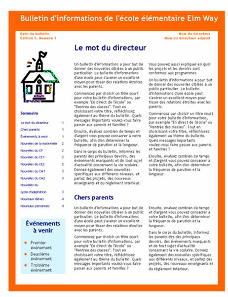 Bulletin d'informations d'une école (3 colonnes, 4 pages)