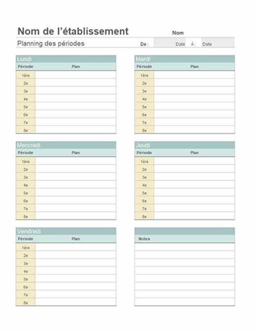 Plan de cours hebdomadaire de l'enseignant