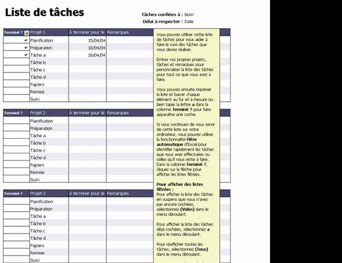 Liste de tâches pour des projets