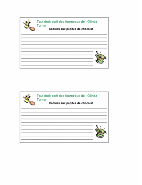 Fiches de cuisine (personnalisées, 2/page)