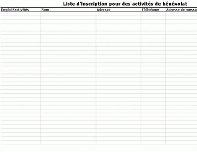 Liste d'inscription pour des activités de bénévolat