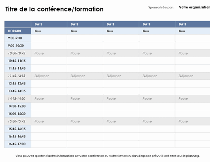 Planning d'un événement sur cinq jours