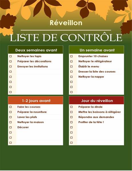 Liste de contrôle verte pour Thanksgiving