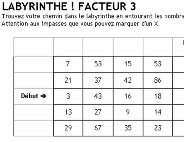 Labyrinthe de chiffres, niveau 1, facteur de 3