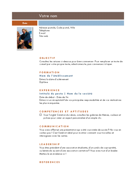 CV avec photo (thème Médian)