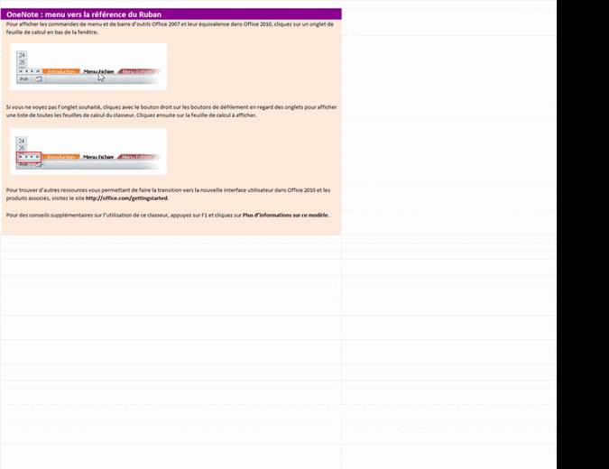 OneNote 2010: classeur de référence pour les mappages des menus et du Ruban