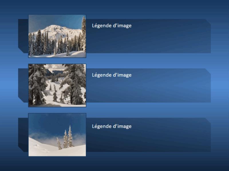 Image de montagne animée qui s'agrandit de manière à occuper la totalité de la diapositive et qui se réduit