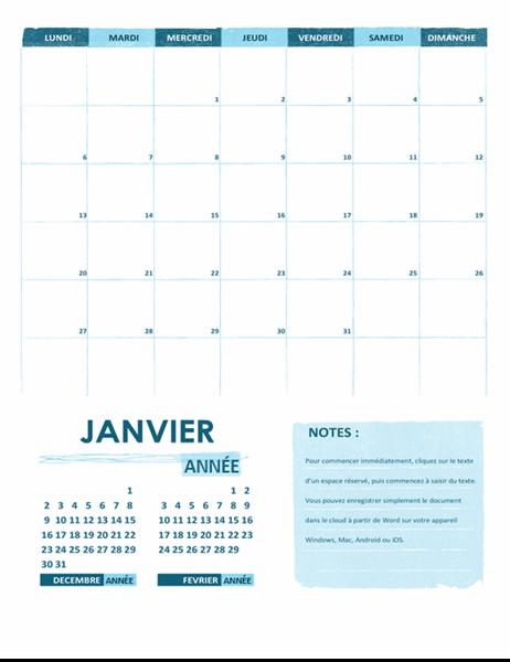 Calendrier scolaire (mensuel, annuel, semaine débutant le lundi)