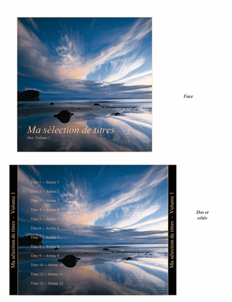 Jaquette de boîte de CD pour noter ma sélection de titres