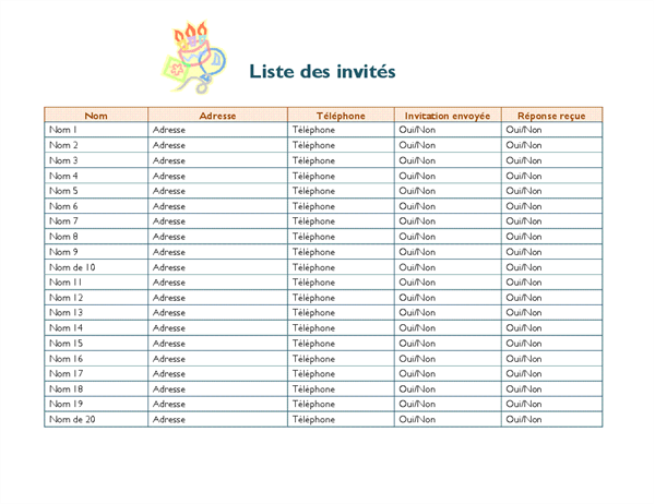 Liste d'invités