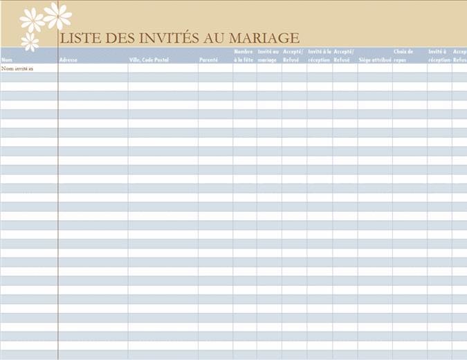 Liste des invités au mariage