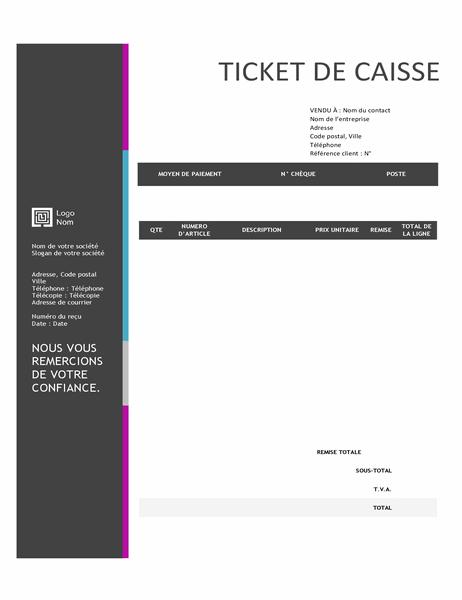 Ticket de caisse (conception avec dégradé de bleus)