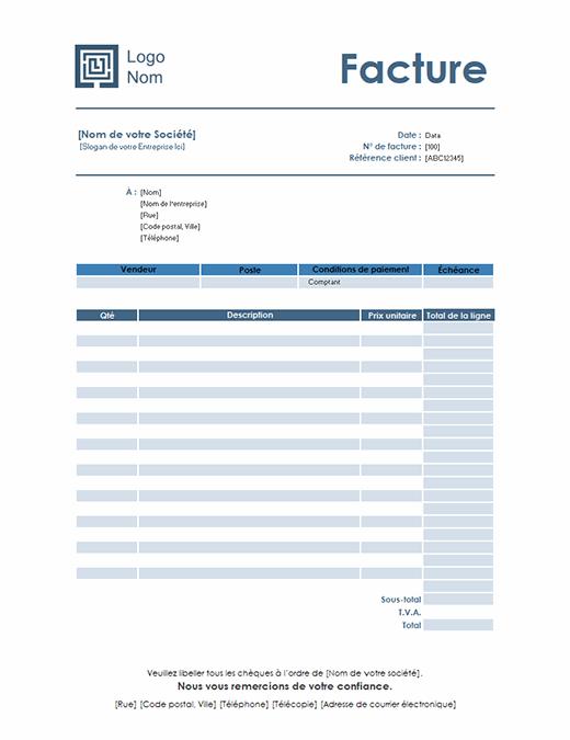 Facture de service (modèle simple bleu)