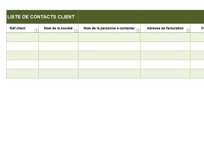 Liste de contacts client de base