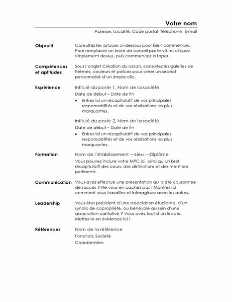CV fonctionnel (conception minimaliste)
