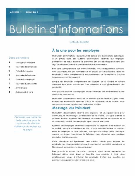 Bulletin d'informations réservé aux employés