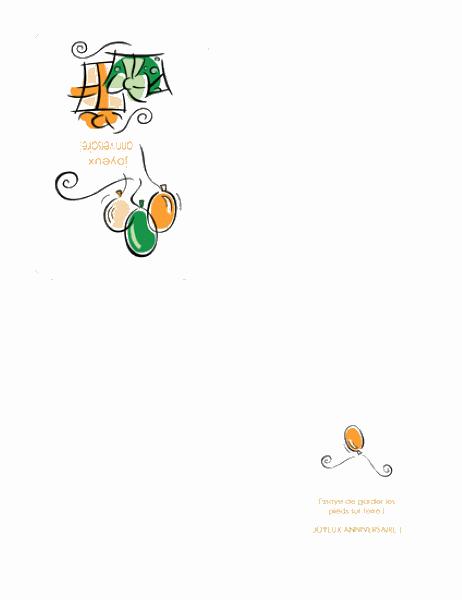 Carte d'anniversaire (avec ballons)
