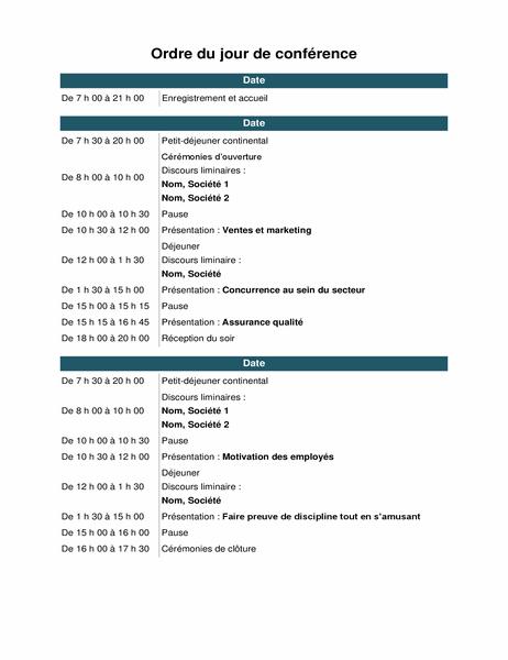 Agenda d'événement de conférence