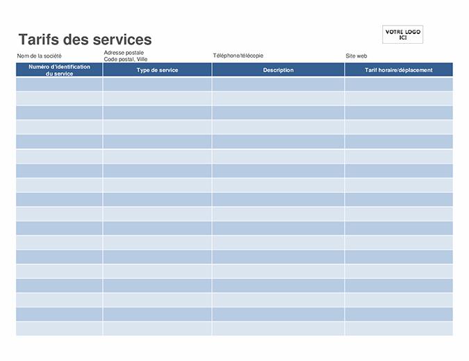 Tarifs des services