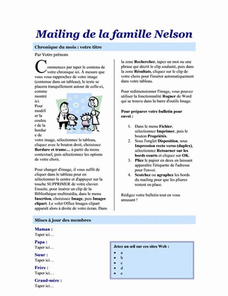 Bulletin d'informations sur la famille (2 pages)