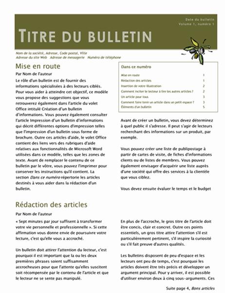 Bulletin d'informations professionnel (2 colonnes, 6 pages, distribution)
