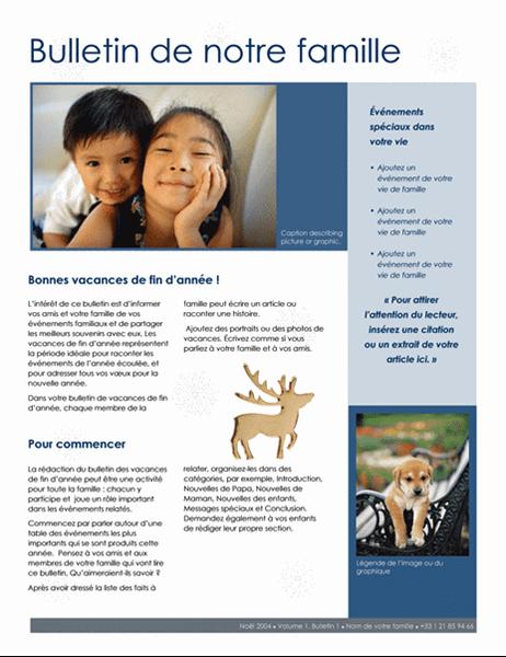 Bulletin de Noël familial