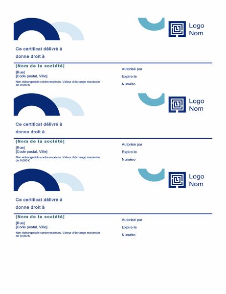 Chèques-cadeaux (conception Arc, 3 par page)