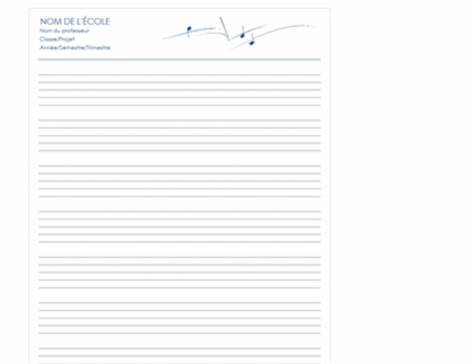 Papier de portée générique (portrait, 8 pages)