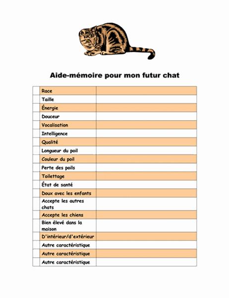 Aide-mémoire pour mon futur chat