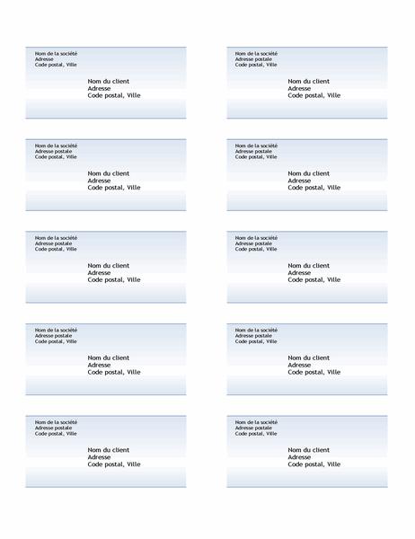 Étiquettes d'expédition (conception avec dégradé de bleus, 10 par page)